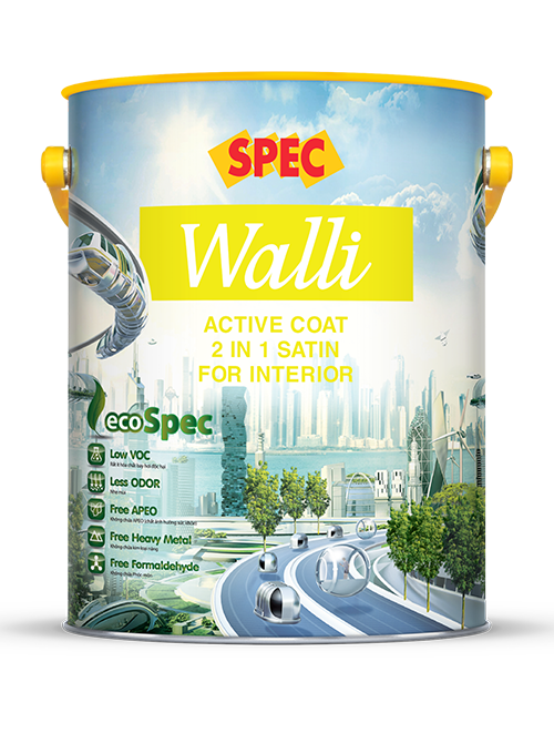 SPEC WALLI ACTIVE COAT 2 IN 1 SATIN FOR INTERIOR - SƠN NỘI THẤT 2 TRONG 1 CAO CẤP BÓNG LOÁNG