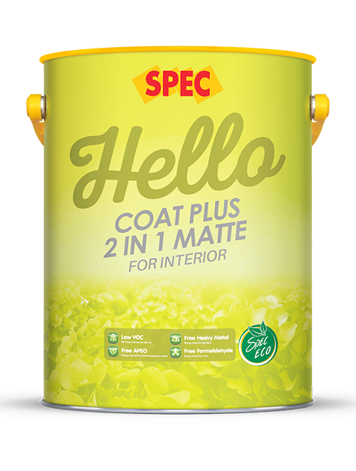 SPEC HELLO COAT PLUS 2 IN 1 MATTE FOR INTERIOR - SƠN NỘI THẤT 2 TRONG 1 CAO CẤP LÁNG MỊN